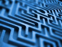 Labyrinth. Wooden endless labyrinth, focus select, blue color Royalty Free Stock Photo