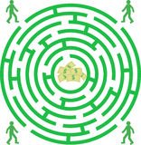 Labyrinth. Green labyrinth with piople and money Stock Images