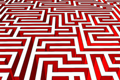 Labyrinth. Endless red labyrinth of walls Royalty Free Stock Images