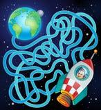 Labyrinth 17 mit Erde und Raumschiff Stockfotos