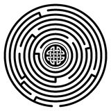 Labyrinth. A circular celtic styled black and white labyrinth with celtic knot inside vector illustration
