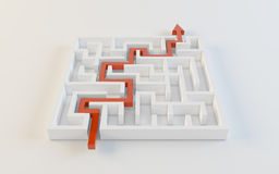 Labyrinth. Whith the red path arrow Royalty Free Stock Image