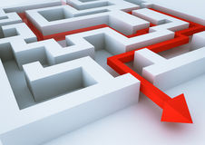 Labyrinth. 3d render of an image of a red arrow inside a labyrinth Stock Image