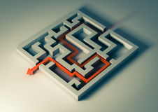 Labyrinth. Rendering of a labyrinth with a red arrow inside Royalty Free Stock Images