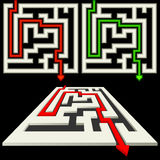 Labyrinth. S on a black background. Red and green arrows show the correct direction Stock Photos