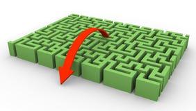 Labyrinth 3d und Pfeil stock abbildung
