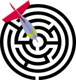 Labyrinth. The labyrinth. target. darts. a vector illustration Royalty Free Stock Photos