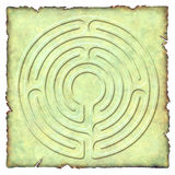 Into the Labyrinth - 6 circuit. Meditation 6 circuit labyrinth illustrated on parchment Vector Illustration