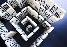 Labyrinth. Domino - one of a set of small flat pieces of wood or plastic Stock Image