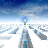 Labyrinth with arrow leading to bulb and blue cloudy sky Royalty Free Stock Photography