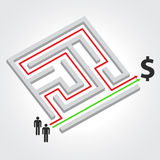 Labyrinth with arrow, people and dollar symbol Royalty Free Stock Images