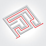 Labyrinth with arrow. Vector Royalty Free Stock Image