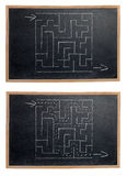 Labyrinth on a Blackboard Stock Images