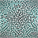 Labyrinth blue light structure perspective top view Stock Photography