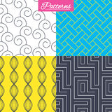 Labyrinth, braid and floral seamless textures. Royalty Free Stock Photo