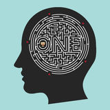Labyrinth Brain; Inside Mind Vector Background Stock Image