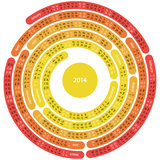 2014 labyrinth calendar. 2014 calendar in the shape of circular maze on white background vector illustration