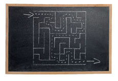 Labyrinth on a chalk board. Isolated on a white background Stock Photography