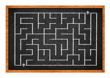 Labyrinth on chalkboard Stock Image
