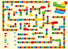 Labyrinth.  children plastic bricks toy and balls. find way as shown in plan Royalty Free Stock Photo