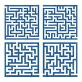 Labyrinth. A collection of four simple, square labyrinths Royalty Free Stock Photo