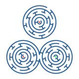 Labyrinth. A collection of three simple, round labyrinths Royalty Free Stock Image
