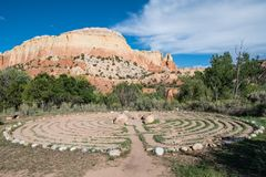 Labyrinth and colorful mesa at Ghost Ranch, Abiquiu, New Mexico royalty free stock photos