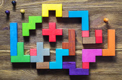 Labyrinth of colorful wooden blocks, tetris, top view. Royalty Free Stock Photos