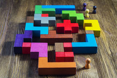 Labyrinth of colorful wooden blocks, tetris, top view. Royalty Free Stock Image