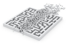 Through the labyrinth, concept of new way. 3d image Royalty Free Stock Photos