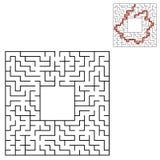 Labyrinth des schwarzen Quadrats mit Eingang und Ausgang Ein interessantes und nützliches Spiel für Kinder Einfache flache Vektor vektor abbildung