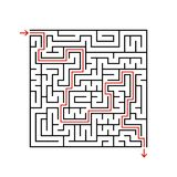Labyrinth des schwarzen Quadrats mit Eingang und Ausgang Ein Spiel für Kinder und Erwachsene Einfache flache Vektorillustration l Stock Abbildung