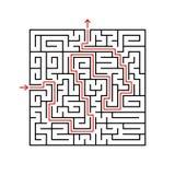 Labyrinth des schwarzen Quadrats mit Eingang und Ausgang Ein Spiel für Kinder und Erwachsene Einfache flache Vektorillustration l Lizenzfreie Abbildung