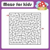 Labyrinth des schwarzen Quadrats mit Eingang und Ausgang Mit einem netten Karikaturpilz Einfache flache Vektorillustration lokali Vektor Abbildung