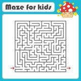 Labyrinth des schwarzen Quadrats mit Eingang und Ausgang Mit einem netten Karikaturpilz Einfache flache Vektorillustration lokali Lizenzfreie Abbildung