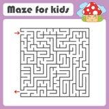 Labyrinth des schwarzen Quadrats mit Eingang und Ausgang Mit einem netten Karikaturpilz Einfache flache Vektorillustration lokali Stock Abbildung