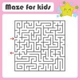 Labyrinth des schwarzen Quadrats mit Eingang und Ausgang Mit einem reizenden Karikaturstern Einfache flache Vektorillustration lo Lizenzfreie Abbildung