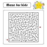 Labyrinth des schwarzen Quadrats mit Eingang und Ausgang Mit einem reizenden Karikaturstern Einfache flache Vektorillustration lo Vektor Abbildung