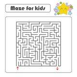 Labyrinth des schwarzen Quadrats mit Eingang und Ausgang Mit einem reizenden Karikaturstern Einfache flache Vektorillustration lo Stock Abbildung