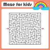 Labyrinth des schwarzen Quadrats mit Eingang und Ausgang Mit einer netten Karikatur eines Regenbogens Einfache flache Vektorillus Lizenzfreie Abbildung