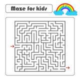 Labyrinth des schwarzen Quadrats mit Eingang und Ausgang Mit einer netten Karikatur eines Regenbogens Einfache flache Vektorillus Stock Abbildung