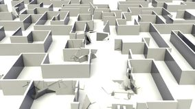 Labyrinth destruction. Animation of destruction of a labyrinth stock illustration