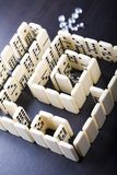 Labyrinth & Diamond. Domino - one of a set of small flat pieces of wood or plastic Royalty Free Stock Images