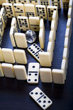 Labyrinth and Diamond. Domino - one of a set of small flat pieces of wood or plastic Stock Photography
