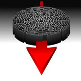 Labyrinth and the Direction to Success. Abstract Illustration of the Labyrinth and the Direction to Success Stock Photos