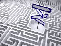 Labyrinth with direction traffic sign inside Stock Image