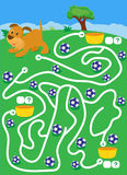 Labyrinth with dog and balls. find way where more ballscount and write Stock Image