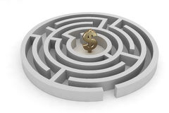 Labyrinth dollar sign Royalty Free Stock Photography