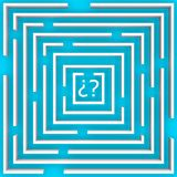 The labyrinth of doubt over blue Royalty Free Stock Image