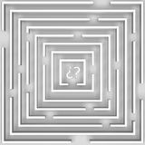 The labyrinth of doubt over white Royalty Free Stock Images